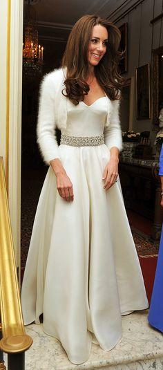 e9a6e63f4f5 Kate Middleton Second Wedding Dress with an angora knit shrug Prince Harry  And Meghan