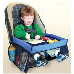 Car Seat Tray: Great For Kids For Travel Or In Town. The sides would be unnecessary but the table part for all three would be wonderful!