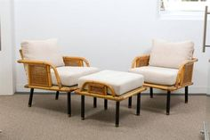 Unique Modern Rattan and Cane Lounge/Club Chairs by Ficks Reed | From a unique collection of antique and modern club chairs at https://www.1stdibs.com/furniture/seating/club-chairs/