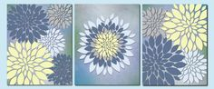 Blue, Yellow and Gray flower bursts - Home Decor Wall Art Bathroom Decor Flower Burst by vtdesigns