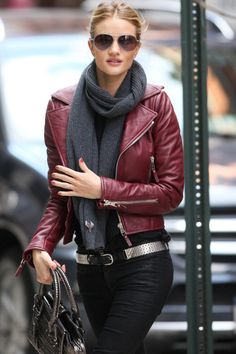 A muted red leather jacket.