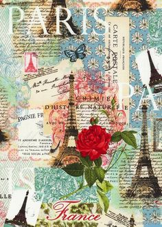 Paris Spring Expo - France in Bloom - Pastel Quilt fabric online store Largest Selection, Fast Shipping, Best Images, Ship Worldwide Decoupage Vintage, Decoupage Paper, Vintage Diy, Vintage Ephemera, Vintage Cards, Vintage Paper, Vintage Postcards, Vintage Images, Image Paris