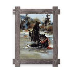 Framed in a rustic-style design, these distressed frames, are the perfect complement to the art they enhance family of four Black Bears ice skating, one in the foreground fallen down and missing an ice skate. Art by Mason Maloof Designs.