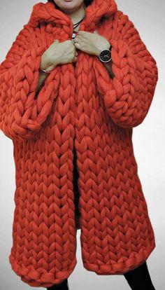 Crochet Patterns Chunky Wool Coat Chunky sweater Chunky knit Coat Knit by JennysKnitCo . Vogue Knitting, Arm Knitting, Knitting Patterns, Knitting Machine, Crochet Patterns, Laine Chunky, Chunky Wool, Chunky Sweaters, Chunky Knits