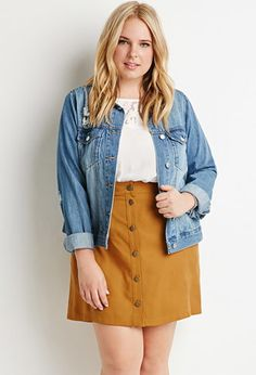 Plus Size Button-Front Textured Skirt | Forever 21 PLUS - 2000158195