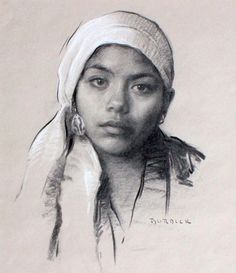 """Scott Burdick """"Karla with White Scarf"""" Charcoal and White Chalk (One of my favorite portrait artists)"""