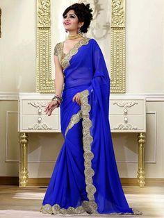 Marvelous blue color Georgette saree. Item Code: SLO8113 http://www.bharatplaza.com/new-arrivals/sarees.html