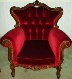 ANTIQUE FRENCH DEEP RED VELVET CHESTERFIELD ARMCHAIR *SYDNEY* Sutherland Sutherland Area image 1