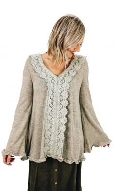 Greer Knit Tunic With Crochet Trim & Ruffles In Oatmeal Cardigans For Women, Blouses For Women, Ruffle Dress, Ruffles, Vintage Inspired Outfits, Tall Women, Crochet Trim, Boutique Clothing, Fashion Outfits