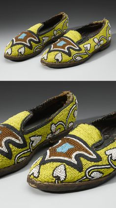 Africa | Pair of royal slippers from the Yoruba people of Nigeria | Glass beads, leather, cotton; bead embroidery (couching)