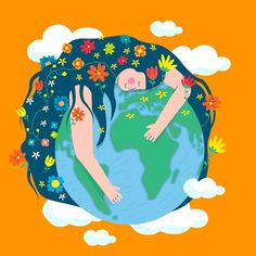 Background of mother earth day in flat d. Illustrations, Illustration Art, Wiccan Art, Book Of Kells, Earth Design, Yoga Art, Photo Wall Collage, Linocut Prints, Earth Day