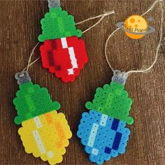 Christmas ornaments perler beads by pixel_planet_