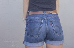 Cuffed high-waisted denim shorts, DIY tutorial