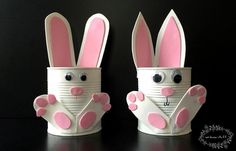 Want a quick and easy gardening with kids craft idea for Easter? Our adorable Tin Can Bunny Planters use up recyclables already found in your home! ideas How To Make Adorable Tin Can Bunny Planters For Spring! Easter Crafts To Make, Tin Can Crafts, Bunny Crafts, Crafts For Kids To Make, Easter Crafts For Kids, Easy Crafts, Diy Ostern, Easy Garden, Garden Art