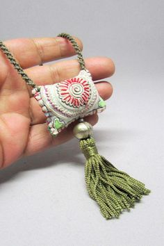 Olive Green Necklace – Bohemian Necklace – Boho Jewelry – Emboidered Pendant Necklace – Gifts for Her – Tassel Necklace Olivgrüne Halskette Böhmische Halskette Boho Schmuck Bohemian Necklace, Boho Jewelry, Jewelry Crafts, Handmade Jewelry, Jewellery Box, Fashion Jewelry, Prom Jewelry, Tribal Jewelry, Jewelry Trends
