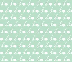 Scooters on Light Mint fabric by natitys on Spoonflower - custom fabric