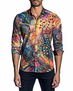 7bf4ab10d Jared Lang Designer Men s Long-Sleeve Graphic Print Sport Shirt