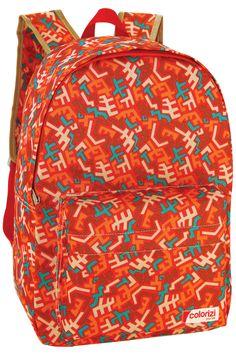Mochila de costas feminina na cor laranja com detalhes nas cores amarela, verde e laanja. Zíper personalizado.