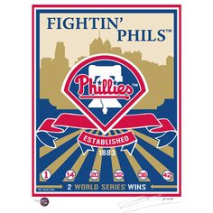 Celebrate your favorite MLB team with the MLB Philadelphia Phillies Logo That's My Ticket Serigraph. This handmade serigraph mends elements of propaganda art with modern sports that is perfect for a lifelong lover of athletics and history. Phillies Baseball, Baseball Art, Philadelphia Sports, Baseball Equipment, Mlb, Screen Printing, Sports Teams, Sports Logos, Sports Art