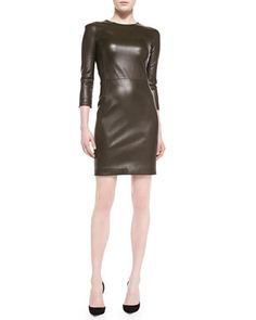 Leverton Shiny Leather Sheath Dress by THE ROW at Bergdorf Goodman.