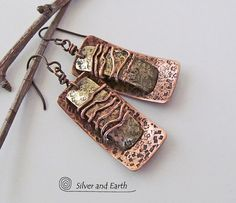Mixed Metal Earrings with Textured Copper & by SilverandEarth, $45.00