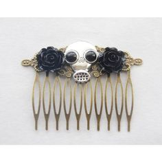 Steampunk Hair Comb Gas Mask Hair Clip Gas Mark Hair Accessories... ($27) ❤ liked on Polyvore featuring accessories, hair accessories, decorative combs, grey, rose hair clip, hair comb, barrette hair clips, gothic hair clips and rose hair accessories