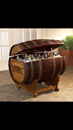 Wine barrel beer chest