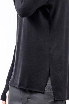 Long Black Top Long sleeves Blouse High Quality Virgin