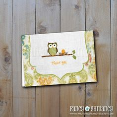 Printable DIY Thank you Cards / Owl and  by fancyshmancynotes, $5.00