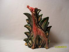 So Cool Vintage Hull Art Pottery Giraffe Pink Green and Gold Planter 115 USA