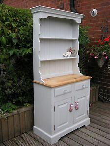 photos of antique shaby chic crysal | VINTAGE SHABBY CHIC SOLID PINE PAINTED WELSH DRESSER / CRYSTAL KNOBS ...