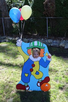 Carnival Birthday Party . Clown Photo Booth Prop Cutout and Balloon Holder…