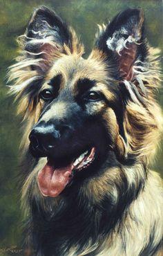 German Shepherd dog portrait oil painting on canvas