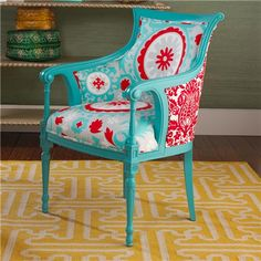 Louis Regency Arm Chair in Turquoise with Red and Gray accents