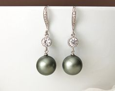 Sage Green Pearls Earrings Gold Flower Olivine Olive by LeChaim