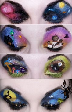 """These beautiful eyelid art designs are by an amazing """"artist"""" named Katie Alves! I only wish that I can get to these magnitude of make-up-ness! =)"""