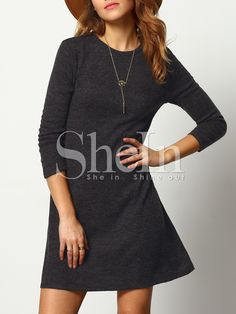 Shop Dark Grey Crew Neck Casual Sweater Dress online. SheIn offers Dark Grey Crew Neck Casual Sweater Dress & more to fit your fashionable needs.