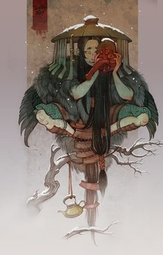 """Yōkai are a class of supernatural monsters, spirits and demons in Japanese folklore. The word yōkai is made up of the kanji for """"bewitching; Japanese Artwork, Japanese Tattoo Art, Japanese Tattoo Samurai, Art And Illustration, Fantasy Kunst, Fantasy Art, Anime Kunst, Anime Art, Arte Dark Souls"""