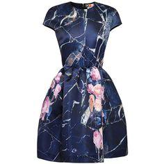 MSGM Printed Duchesse-Satin Mini Dress ($620) ❤ liked on Polyvore featuring dresses, vestidos, short dresses, cocktail dresses, multi blue, floral cocktail dress, blue cocktail dress, blue mini dress, blue flower dress and mini dress