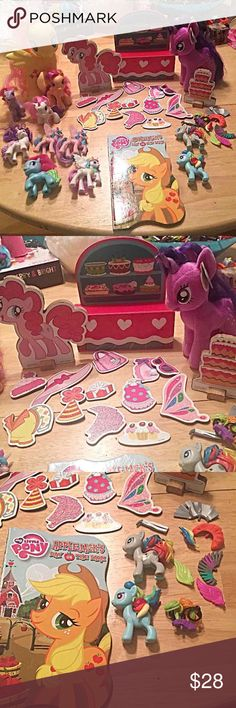 """HUGE lot of My Little Ponies. My Little Pony Huge lot of My Little Pony toys, books, pieces to put together to make your own, unique pony, and a magnetic birthday set!  Yellow pony in back, w/butterflies, measures 8"""". She is vinyl material.  NWT, TY Beanie Baby, Twilight Sparkle The wooden set in the middle, is Pinkie Pies birthday! It's a magnetic set. You can dress her up w/all the diff pieces! NOTE: Build your own pony"""" set, on right, IS SOLD. On the left, 4 MLP brand & 4 pretend MLP…"""
