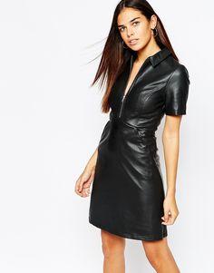 Bild 1 von Warehouse – Kleid aus PU mit Reißverschluss vorne