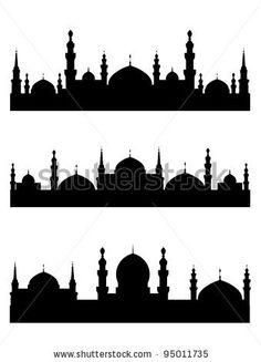 Islamic city silhouettes for design. Arabic Calligraphy Art, Arabic Art, Kleiner Muck, Decoraciones Ramadan, Mosque Silhouette, Skyline Painting, Première Communion, Ramadan Crafts, Doodle Art Designs
