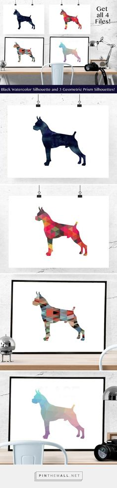 Boxer silhouettes in black watercolor and colorful geometric patterns on Etsy