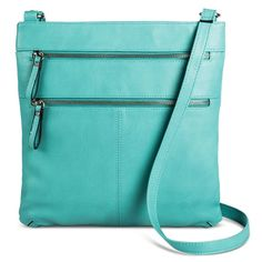 Aqua Crossbody Handbag with Double Zipper Detail