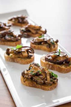 Mushroom bruschetta is a great party canapé or appetizer. Make this simple mushroom bruschetta recipe with high quality mushrooms, olive oil, and balsamic vinegar. Get the recipe at PBS Food. Vegan Appetizers, Appetizers For Party, Appetizer Recipes, Party Recipes, Canapes Recipes, Canapes Ideas, Recipes Dinner, Steak Appetizers, Appetizer Dinner
