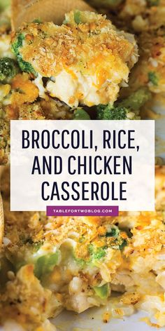 This easy broccoli, rice, and chicken casserole is topped with a buttery Ritz cracker crust. This meal comes together in less than 45 minutes and it takes one bowl and one casserole dish! Put this together ahead of time and pop it in the oven when you get home from work! #casserolerecipes #familyfriendlyrecipes #comfortfood #recipes tablefortwo #quickdinnerideas #easydinnerrecipes #dinnerideas