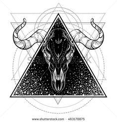 Blackwork tattoo flash. Bull Skull. Sacred geometry. Vector illustration…