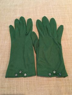Vintage Green Nylon Gloves Size 6 Vintage Driving by DartmouthHill