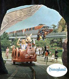 Vintage Disneyland ~ Monorail and Alice in Wonderland