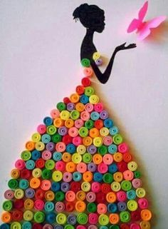 Quilling modele : Beautiful Women on QuillingBlack Silouhette of Young Woman w/Colorful SkirtA really beautiful and simple quilling idea.Was ist Quilling? Wie zu - Mandy Robertson - Willkommen bei Pin WorldBildresultat för quilling on canvas 27 DIY Valen Arte Quilling, Diy Quilling Crafts, Quilling Cards, Quilling Ideas, Quilling Dolls, Kids Crafts, Diy And Crafts, Arts And Crafts, Clown Crafts
